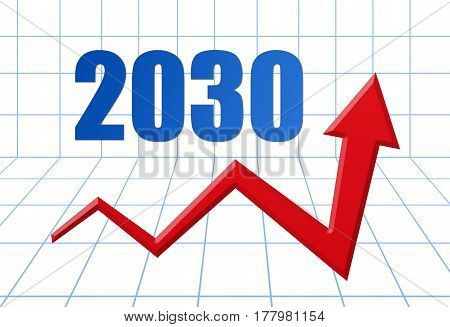 Red Growth Arrow On Blue 3D Grid With Text: Year 2030