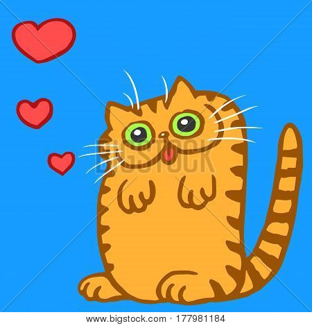 Orange Flat Bright Colors Cute Cat in Love Image. Funny Cartoon Cool Character. Romantic Holiday Mood. Digital Freehand Outline Drawing. Blue Background. Isolated Vector Illustration.