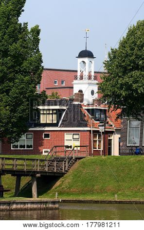 Netherlands Friesland june 2016: Tower of the City-hall of Dokkum