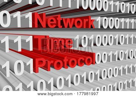 Network Time Protocol in the form of binary code 3d illustration