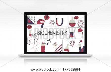 Illustration of biochemistry study scietific research on laptop