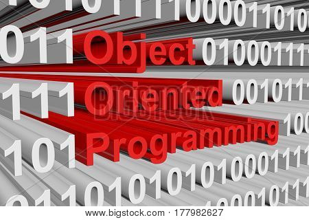Object oriented programming is presented in the form of binary code 3d illustration