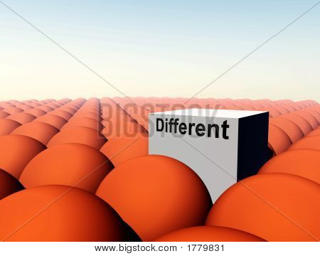 poster of A Conceptual image of a square representing being a unique individual (not conforming) amongst conformity.