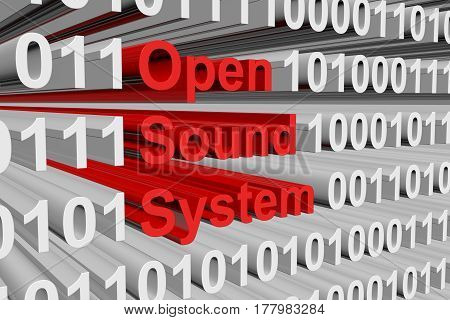 Open Sound System is represented as a binary code 3d illustration