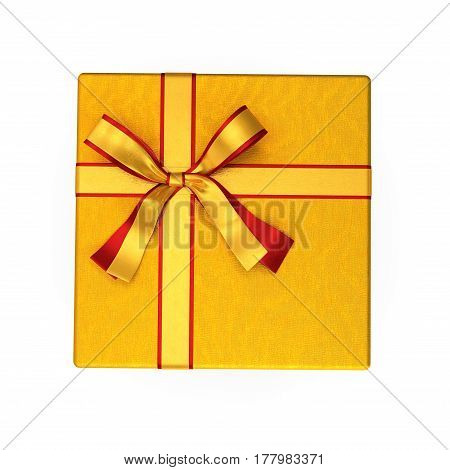 Red paper giftbox with yellow ribbon bow isolated on white background. Top view. 3D illustration