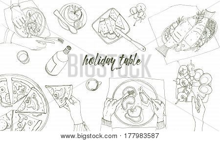 Festive tableful, laid table, holidays hand drawn contour illustration, top view, Background with place for text.
