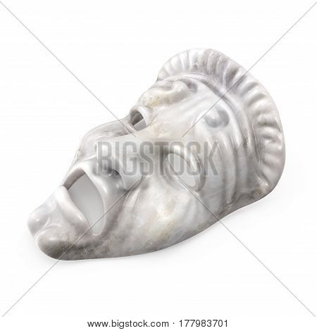 Theatre Tragedy Mask White Marble on white background. 3D illustration