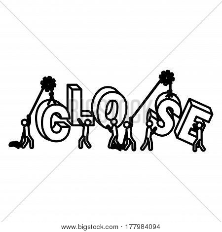 Silhouette workers with pulleys under construction close sign vector illustration