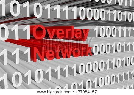 Overlay Network is represented as a binary code 3d illustration