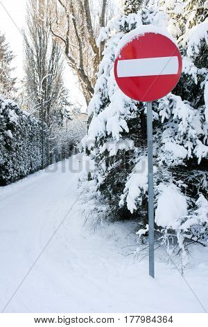 Road Sign: Denied Entry Installed On Winter Forest Road. Very Harsh And Beautiful Winter. So Much Sn