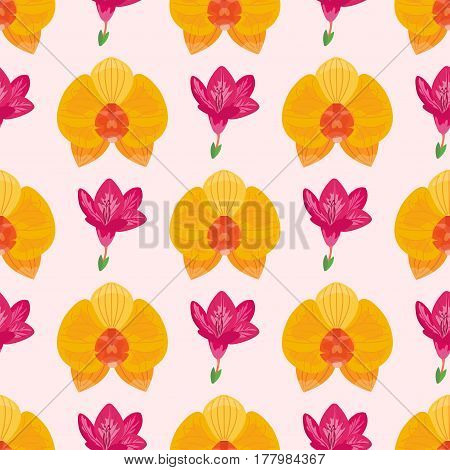 Hand drawn flower seamless pattern wallpaper with print ornament decoration and floral graphic art nature drawing vector illustration. Spring blossom artwork botanical paper.