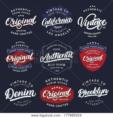 Big set of California, Vintage, Brooklyn, Denim, Original and Authenic hand written lettering for label, badge, tee print. Denim wear. Apparel design. Vintage style. Vector illustration