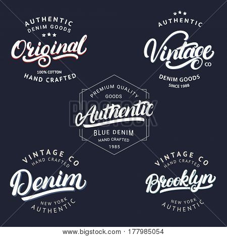 Set of Vintage, Brooklyn, Denim, Original and Authenic hand written lettering for label, badge, tee print. Denim wear. Apparel design. Vintage style. Vector illustration