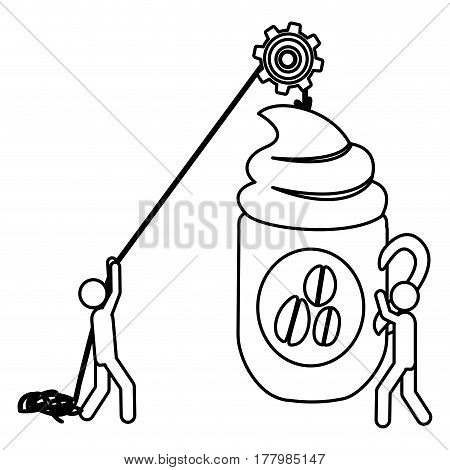 Silhouette workers with pulley holding big mug of cappuccino with cream vector illustration