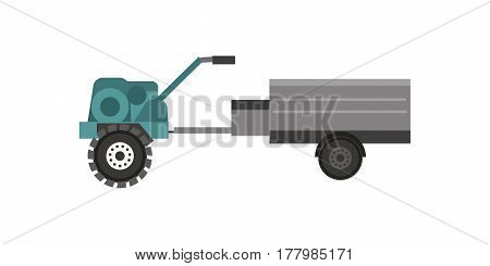 Agriculture industrial farm equipment machinery tractor and trailer rural machinery corn car harvesting wheel vector illustration. Autumn farmland heavy industry transportation.
