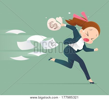 Businessman running away from tax Business concept illustration.