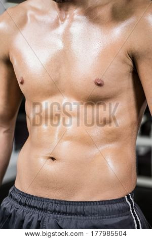 Mid section of smirtless muscular man in the gym