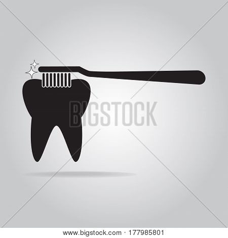 Tooth cleaning with toothbrush icon dentist icon