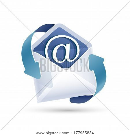Open email letter with arrow isolated. Vector illustration