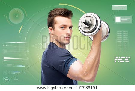 sport, fitness, exercising, technology and people concept - sportive young man with dumbbell flexing muscles over green background
