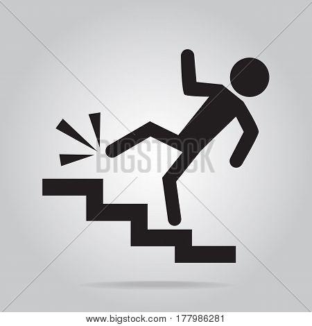 Man walking on stairs and injury,  person injury symbol illustration