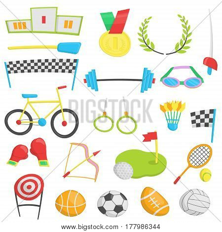 Flat cartoon icons for summer sports, competition event. Accessories, tools, symbols and inventory, medals and awards for soccer, swimming, cycling, archery and other.