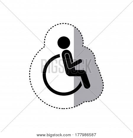 sticker silhouette pictogram sitting in abstract reclininig wheelchair flat icon vector illustration