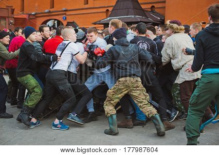 Russia. Moscow. Red Square. February 26, 2017. a mass brawl of hooligans and fans in the center of Moscow