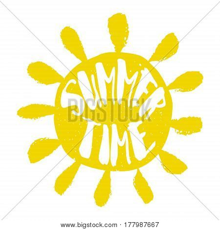 Silhouette of the sun with lettering text Summer Time. Vector sticker.