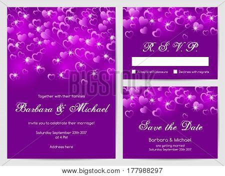 Set of wedding cards with bokeh lights. Vector illustration
