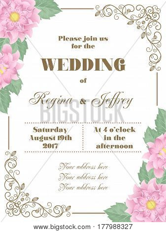 Wedding invitation with flowers and decorative corners. Vector Illustration in retro style