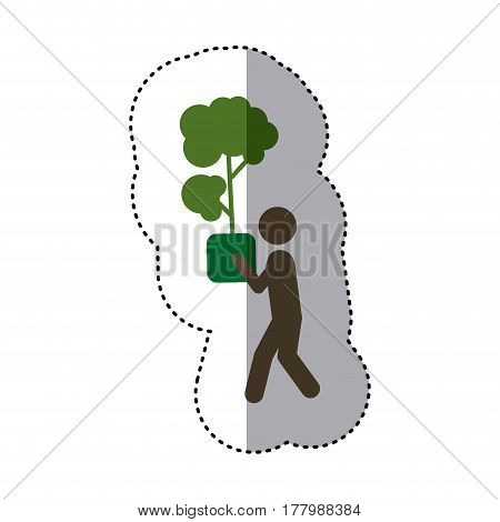 sticker shading colorful pictogram planting trees with plantpot vector illustration