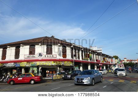 Old Streets And Architecture Of Georgetown In Penang, Malaysia
