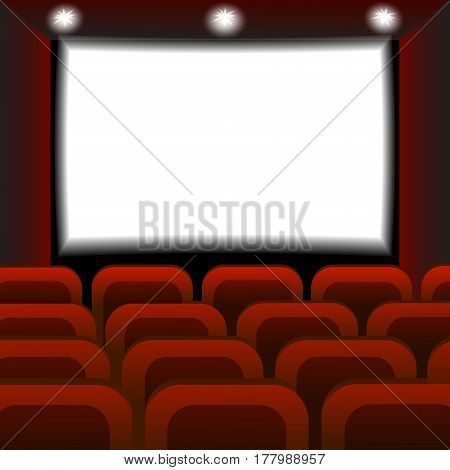 Interior of a cinema movie theater. Empty Cinema auditorium with white screen. Vector illustration