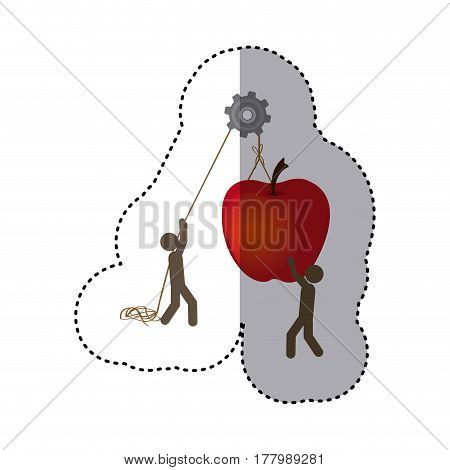 sticker colorful workers with pulley holding big apple fruit vector illustration
