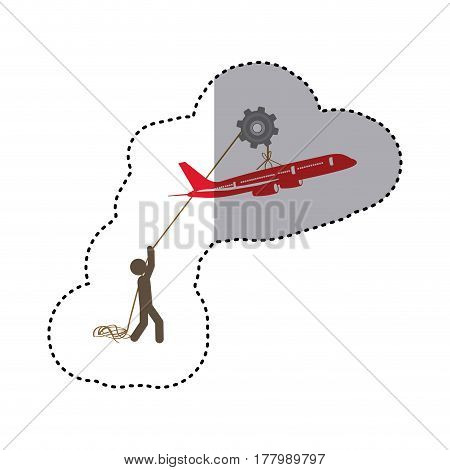 sticker colorful worker with pulley holding small figure airplane vector illustration