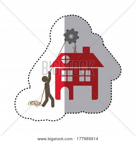 sticker colorful workers with pulley holding big house with two floors vector illustration