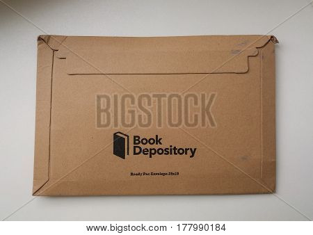 GLOUCESTER UK - CIRCA MARCH 2017: Book Depository logo parcel for shipping books