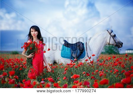 Woman With A Horse In A Poppy Field