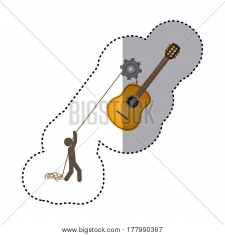 sticker colorful worker with pulley holding acoustic guitar musical vector illustration