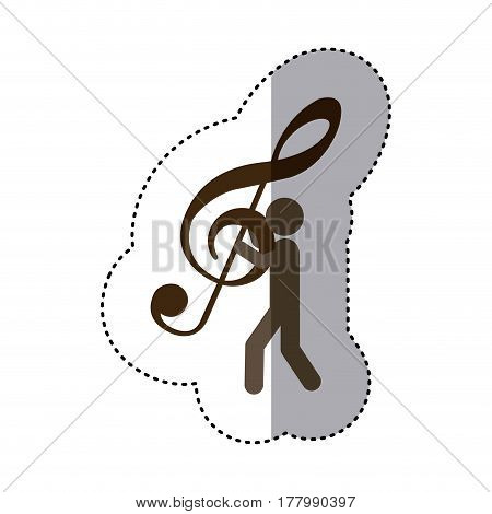 sticker worker holding up sign music treble clef vector illustration
