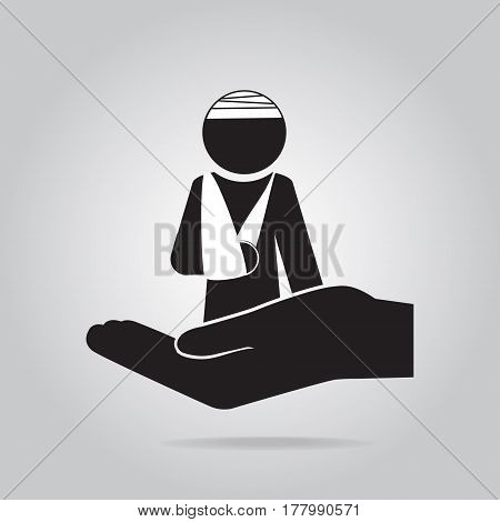 Injury man and bandage in hand icon Protection or care medical service accident insurance concept