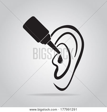 Ear drops icon medical sign icon illustration