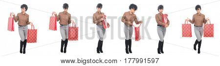 Teenage model with urban fashion clothes montage - shopping concept