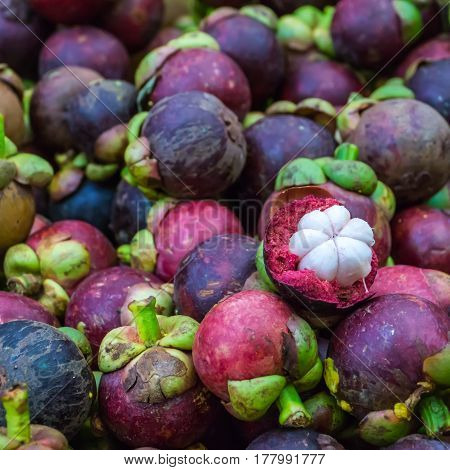Mangosteen, tropical fruit in Thai local market