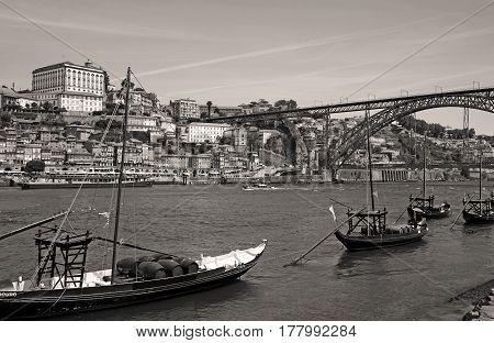 Black and white image of Porto in Portugal