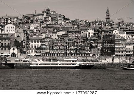 Porto in Portugal in black and white