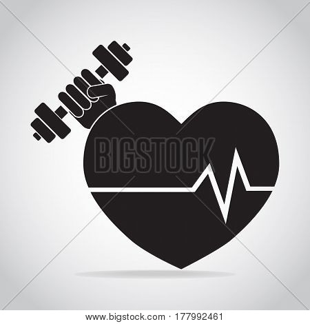 Heart and Hand holding with dumbbell icon. Strong Heart concept. Medical sign