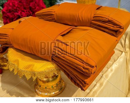 Cloths to offer sacrifice to Buddhist monk