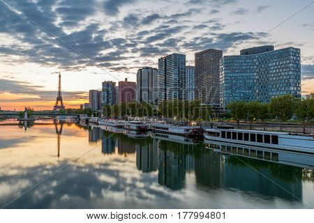 Paris skyline with Eiffel tower in background at Paris France.